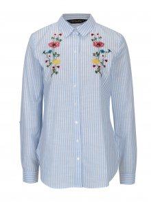Bílo-modrá pruhovaná košile s výšivkou Dorothy Perkins