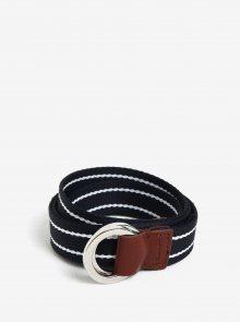 Tmavě modrý dámský pruhovaný pásek s koženými detaily GANT