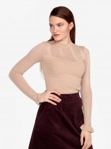 Béžový žebrovaný svetr s volánem na rukávu Miss Selfridge