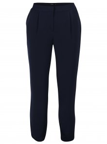 Tmavě modré volné kalhoty s vysokým pasem a pruhem na bocích VERO MODA Adrianne