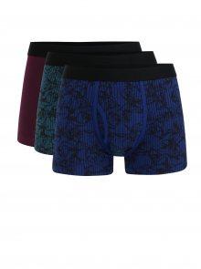 Sada tří vzorovaných boxerek ve vínové, zelená a modré barvě Burton Menswear London