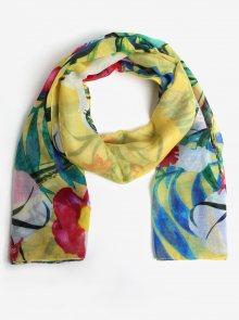 Žlutý šátek s květy a listy Desigual Gardenette