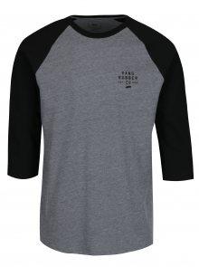 Černo-šedé pánské žíhané tričko s potiskem VANS Stacked Rubber