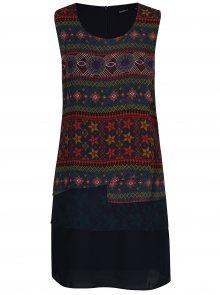 Tmavě modré volné vzorované šaty Desigual Jonatan