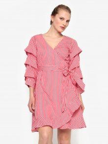 Krémovo-červené pruhované překládané šaty VILA Picana