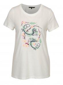 Krémové tričko s výšivkou čínského draka VERO MODA Justine