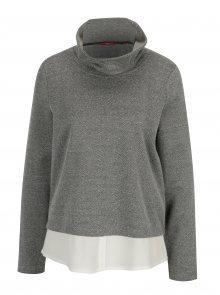 Černo-bílý dámský lehký svetr se stojáčkem a všitou košilí 2v1