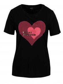 Černé tričko s motivem srdce VERO MODA Jenny