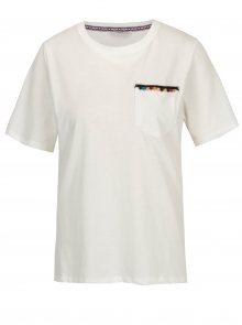 Krémové tričko s náprsní kapsou ONLY Tally