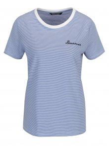 Bílo-modré pruhované tričko s výšivkou ONLY Kita