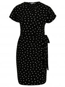 Černé puntíkované zavinovací šaty Dorothy Perkins Petite