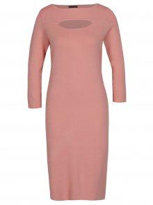 Růžové dámské šaty s 3/4 rukávem Pietro Filipi
