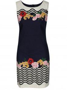 Tmavě modré lněné květované šaty Desigual Prudencia