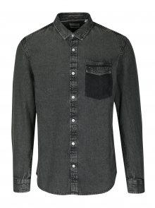 Tmavě šedá džínová regular košile ONLY & SONS Neville