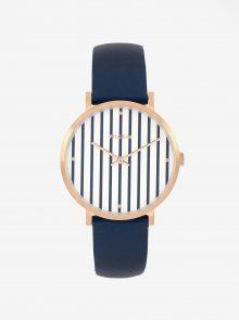Pozlacené hodinky ve zlaté barvě s tmavě modrým koženým páskem Pilgrim Billie