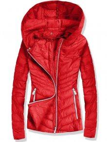 Červená prošívaná bunda s odnímatelnou kapucí