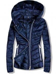 Tmavě modrá prošívaná bunda s odnímatelnou kapucí