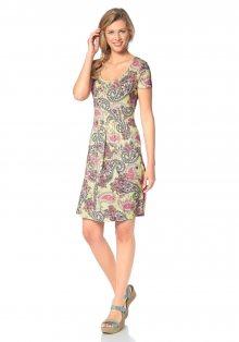 CHEER Letní šaty, Cheer žlutá-růžová-zelená-bílá-potis - Normální délka (N) 34