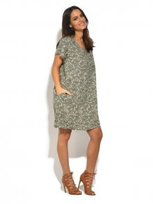 Lin Blanc Dámské lněné šaty 6737 - ROBE TAMY PA203A KAKI