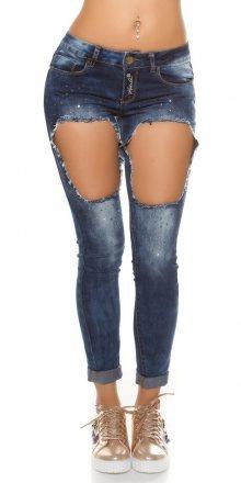 Koucla Dámské trendy džíny s dírami