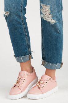 Parádní růžové tenisky s ozdobou