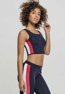 Urban Classics Ladies Side Stripe Cropped Zip Top navy/fire red/white - XS