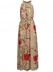 Béžové květované maxišaty s páskem Mela London