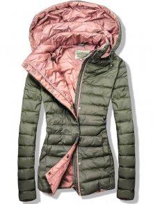 Khaki-růžová prošívaná bunda