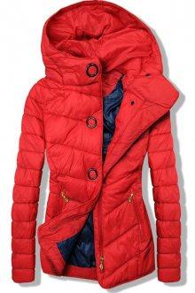 Červená lehká jarní prošívaná bunda