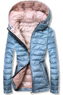 Jeans modrá/růžová prošívaná bunda