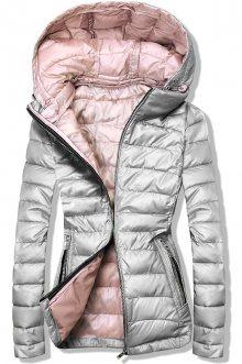 Šedo/růžová prošívaná bunda