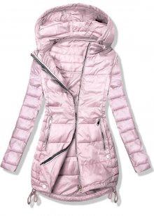 Růžová bunda v prodlouženém střihu