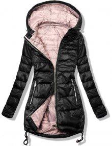 Černo/růžová bunda v prodlouženém střihu