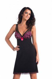 Donna Vivien noční košilka black černá S černo-růžová