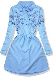 Baby blue šaty s potiskem květů
