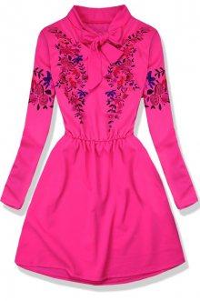 Neonově růžové šaty s potiskem květů