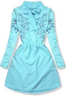 Tyrkysové šaty s potiskem květů