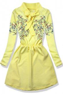 Žluté šaty s potiskem květů