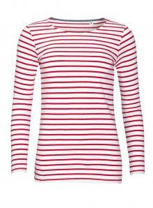 Dámské pruhované tričko s dlouhými rukávy - Bílá/červená XS