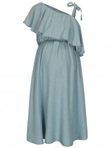 Světle modré džínové těhotenské šaty s volánem Mama.licious Nesli