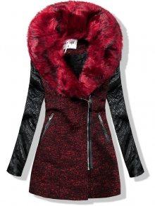 Bordó kabát s koženkovými rukávy