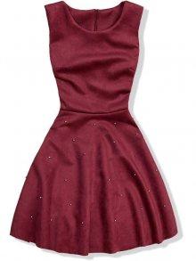 Bordó šaty bez rukávů s perličkami