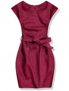 Bordó semišové šaty se zavazováním