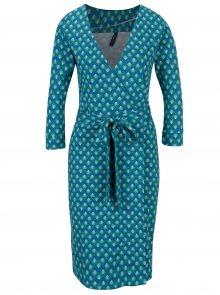 Tyrkysové vzorované zavinovací šaty s 3/4 rukávem Tranquillo Viride