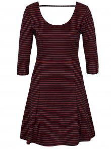 Modro-červené pruhované šaty s 3/4 rukávem ONLY Esra