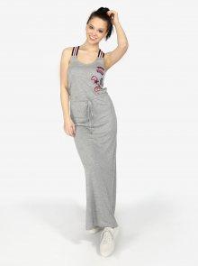 Šedé žíhané maxi šaty s nášivkami Superdry
