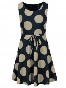 Zlato-modré šaty s puntíky a páskem Mela London