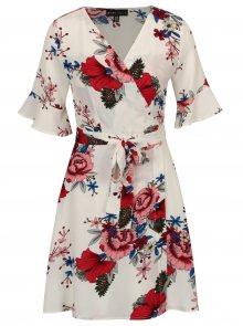 Bílé květované zavinovací šaty se zvonovými rukávy Mela London