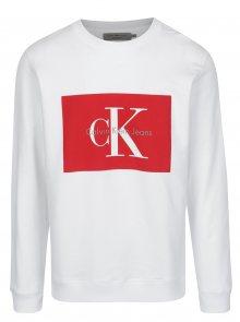 Bílá pánská mikina s potiskem v červené barvě Calvin Klein Jeans Hotoro
