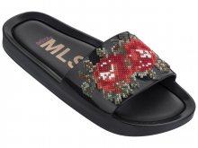 Melissa černé pantofle Beach Slide Flower Black/Red